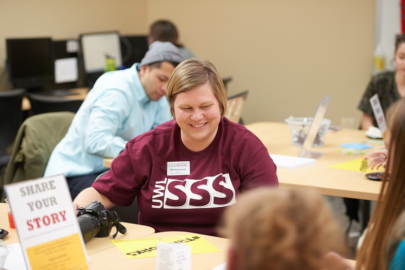 Activity; Studying; Talking; Buildings; Centennial; Location; Inside; People; Woman Women; Staff; Student Students; Type of Photography; Candid; UWL UW-L UW-La Crosse University of Wisconsin-La Crosse; Winter; February; TRIO Student Support Services