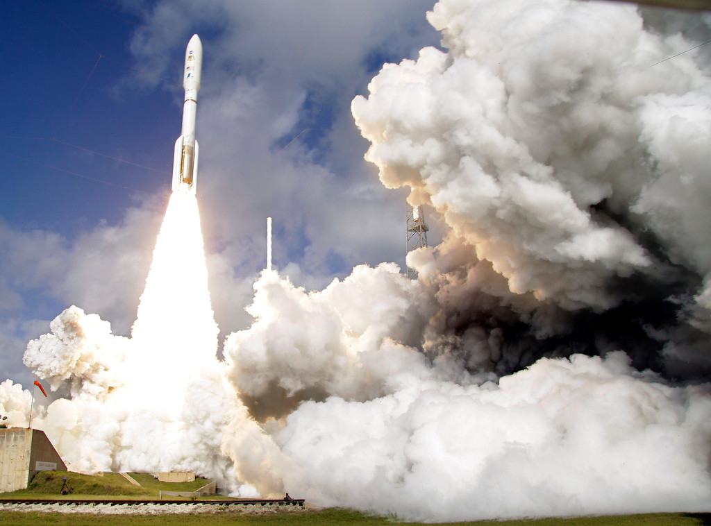 . FILE - In this Saturday, Nov. 26, 2011 file photo, a United Launch Alliance Atlas V rocket carrying NASA\'s Mars Science Laboratory (MSL) Curiosity rover lifts off from Launch Complex 41at Cape Canaveral Air Force Station in Cape Canaveral, Fla. (AP Photo/Terry Renna)