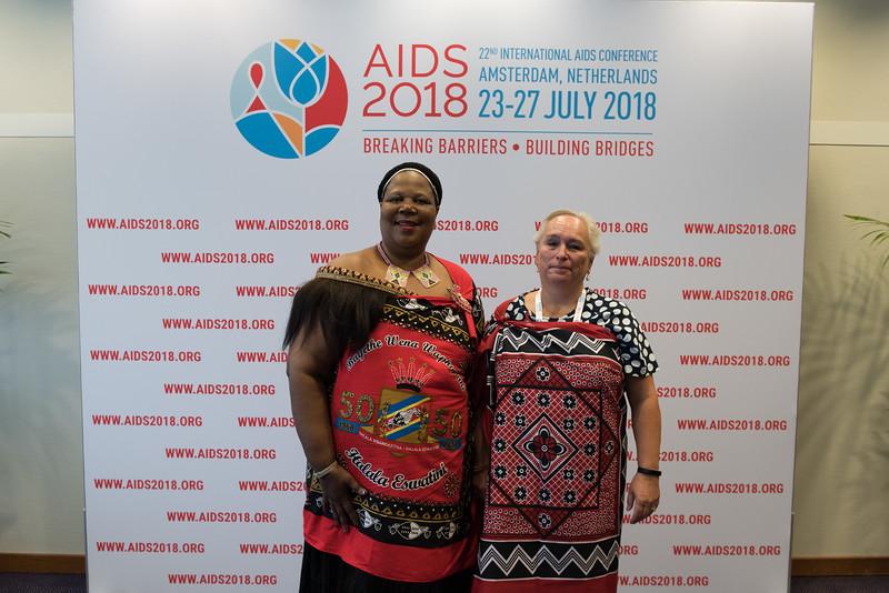 22nd International AIDS Conference (AIDS 2018) Amsterdam, Netherlands   Copyright: Marcus Rose/IAS  Photo shows: Press Conference Green Room. Sub-Saharan Africa: New Insights, New Impact. Louise Henriëtte Van Deth & Sibongile Nonozi Bongi Ndela