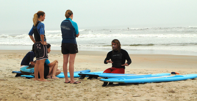 The Christian Surfers were holding a clinic on the beach near Ormond Beach, FL.  Here an instructor was working with four beginners.