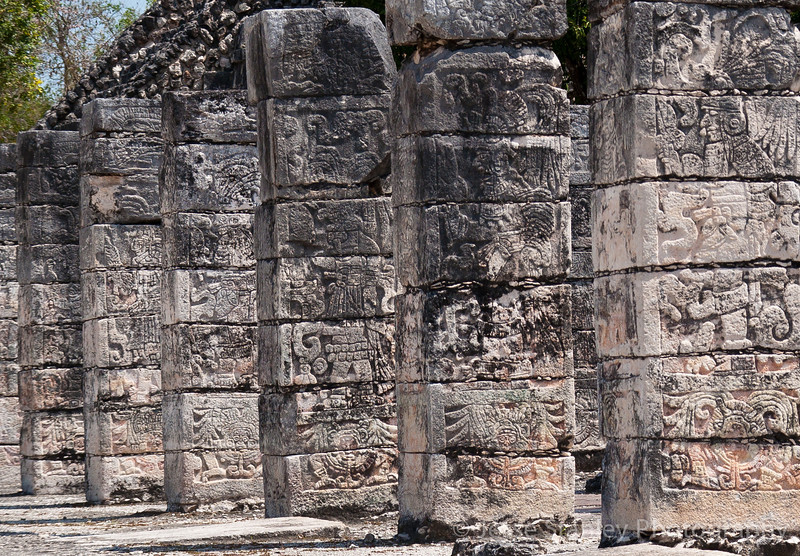 Carved columns depicting warriors at the Temple of the Warriors, Chichen Itza