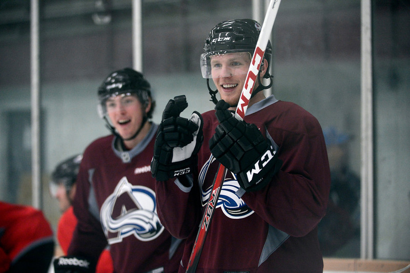 . Colorado Avalanche LW Gabriel Landeskog (92) smiles  during practice Wednesday, January 16, 2013 at Family Sports Center. John Leyba, The Denver Post