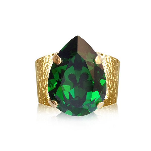Classic Drop Ring / Dark Moss Green / Gold