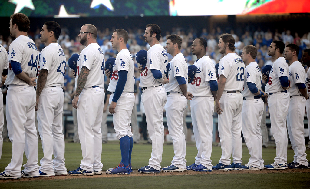 . Los Angeles Dodgers before game 3 of the NLDS at Dodger Stadium Sunday, October 6, 2013. (Photo by David Crane/Los Angeles Daily News)