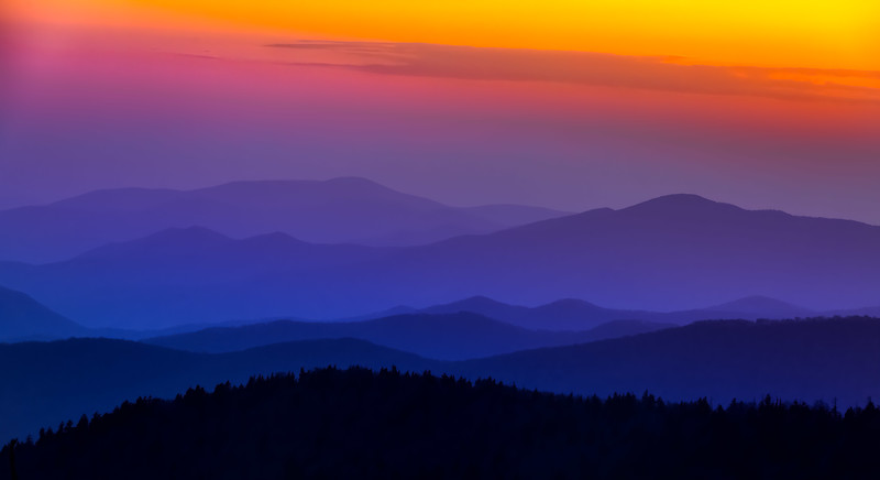 Smokey Mountain Nation park sunset