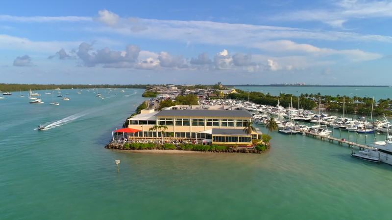 Aerial drone Miami Key Biscayne boats waverunner