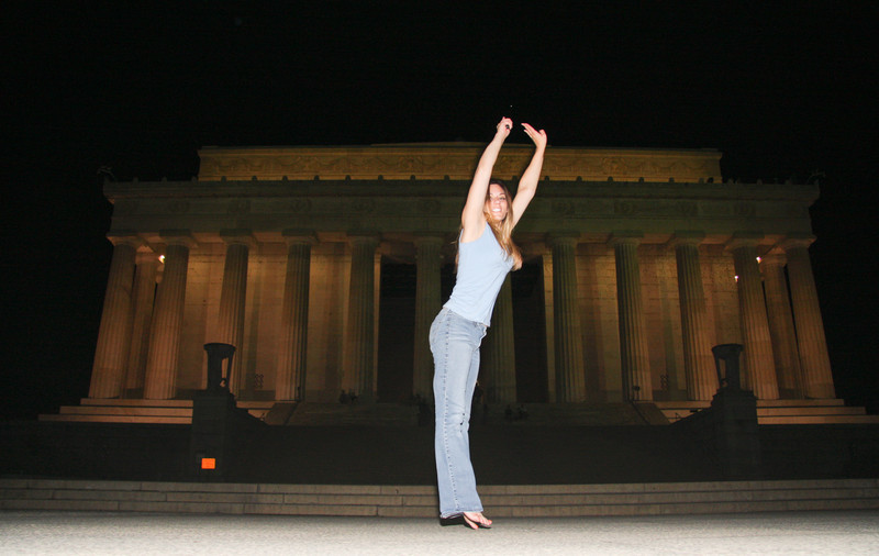 Me Jumping in front of Lincoln Memorial.