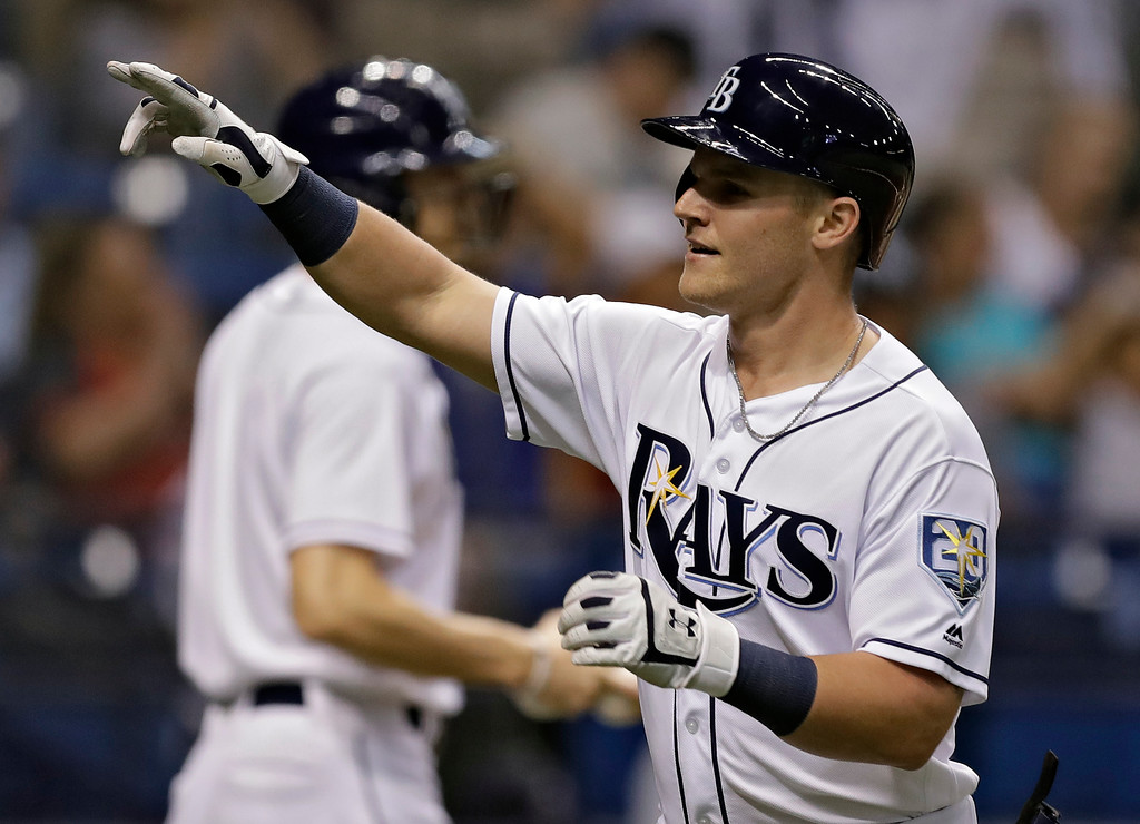 . Tampa Bay Rays\' Jake Bauers celebrates after his two-run home run off Cleveland Indians pitcher Corey Kluber during the second inning of a baseball game Monday, Sept. 10, 2018, in St. Petersburg, Fla. (AP Photo/Chris O\'Meara)