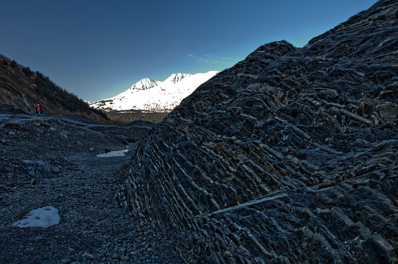 The glacier made these lines in the rocks as it receded.