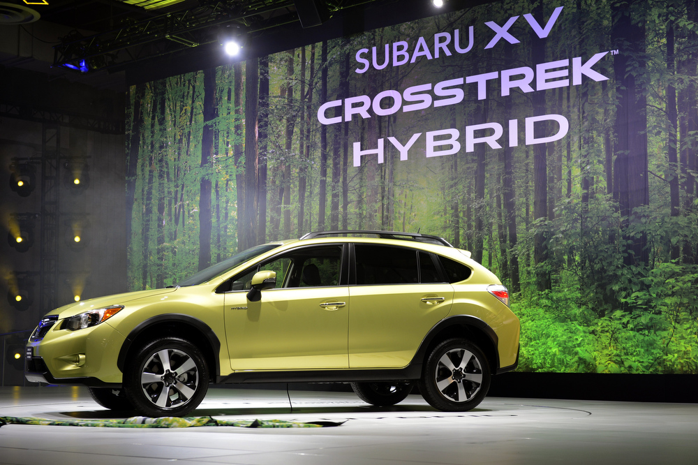 Description of . The 2014 Subaru XV Crosstrek Hybrid on display during the second  press preview day at the New York International Auto Show March 28, 2013 in New York.   TIMOTHY A. CLARY/AFP/Getty Images