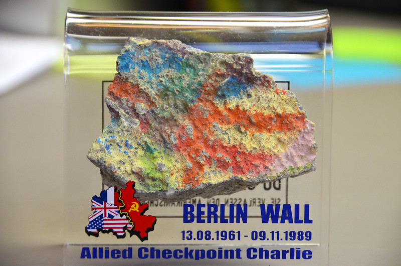2012-7-5 ––– This is my chunk of the Berlin Wall I brought home from our trip last month. It sits in my office. I got it in the souvenir shop at one of the palaces in Berlin. Kind of a fun memento of our trip.