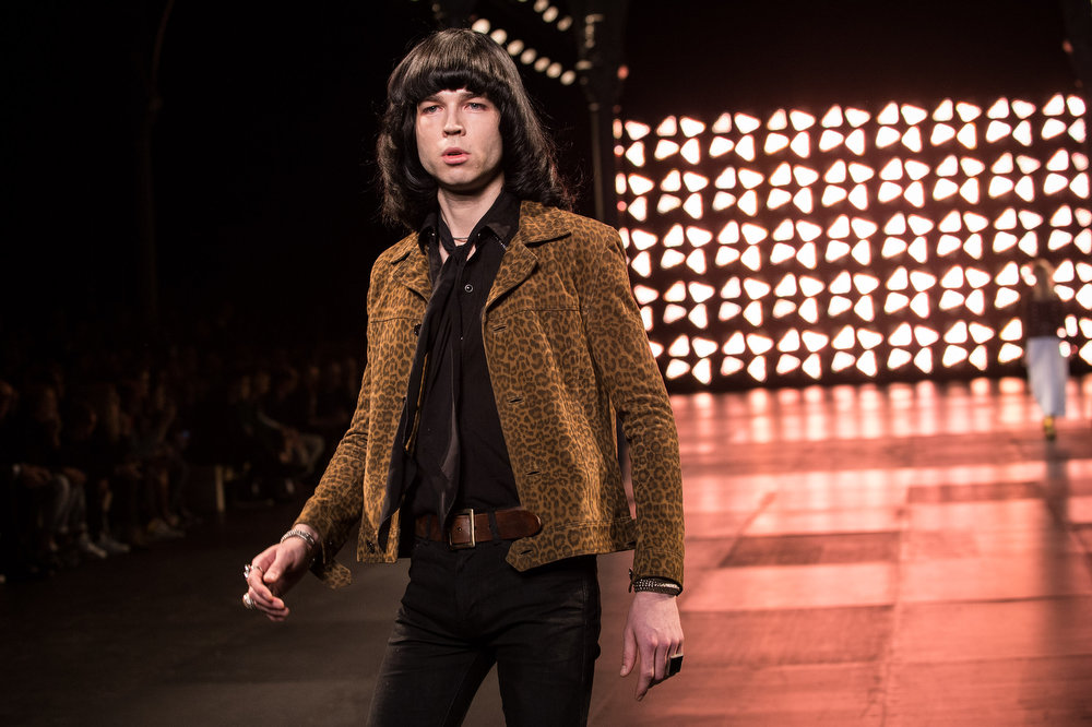. A model walks the runway during the Saint Laurent show as part of the Paris Fashion Week Menswear Spring/Summer 2015 on June 29, 2014 in Paris, France.  (Photo by Francois Durand/Getty Images)