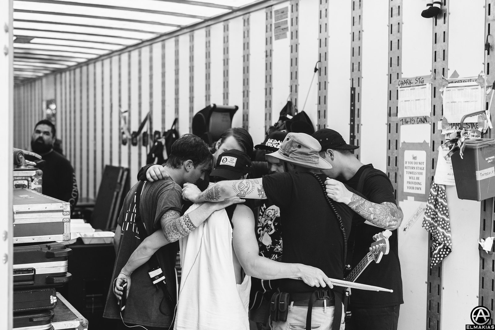 Beartooth preshow huddle at Vans Warped Tour 2015 by Adam Elmakias