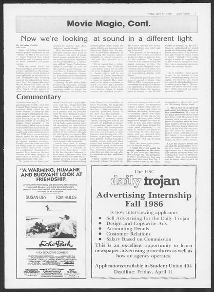 Daily Trojan, Vol. 100, No. 58, April 11, 1986
