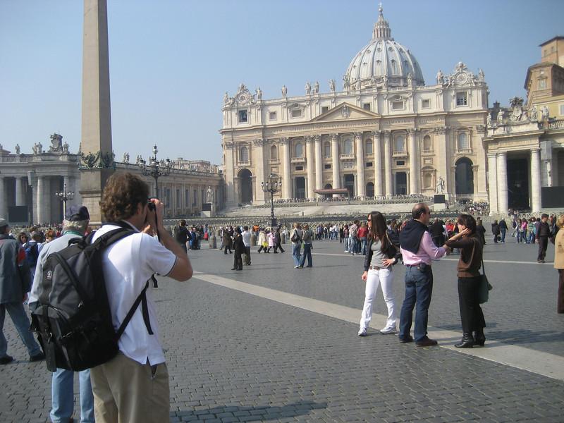 Jon taking a picture of Basilica di San Pietro.