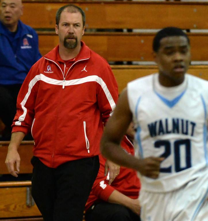 . Los Altos head coach Jeff Lucas in the first half of a prep basketball game against Walnut at Walnut High School in Walnut, Calif., on Wednesday, Jan. 22, 2014. (Keith Birmingham Pasadena Star-News)