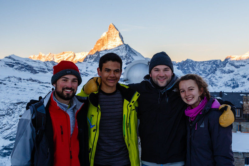 Mr. Garczynski, Neel, Mr. Bollag-Miller, and Ashley with Matterhorn in the background