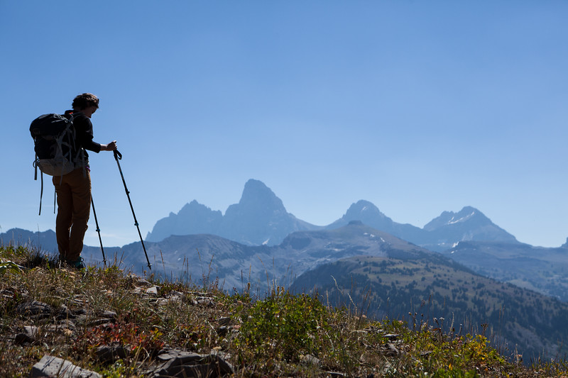 7. Archaeologist Rebecca Sgouros pauses while approaching a study area in the Teton Range.