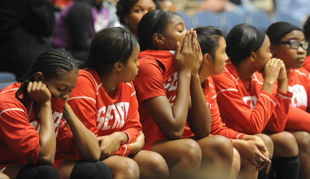 . 02-27-2012--(LANG Staff Photo by Sean Hiller)- The bench reacts after Serra lost to Windward in Wednesday\'s girls basketball CIF SS Div. 4AA title game at the Anaheim Convention Center Arena in Anaheim.