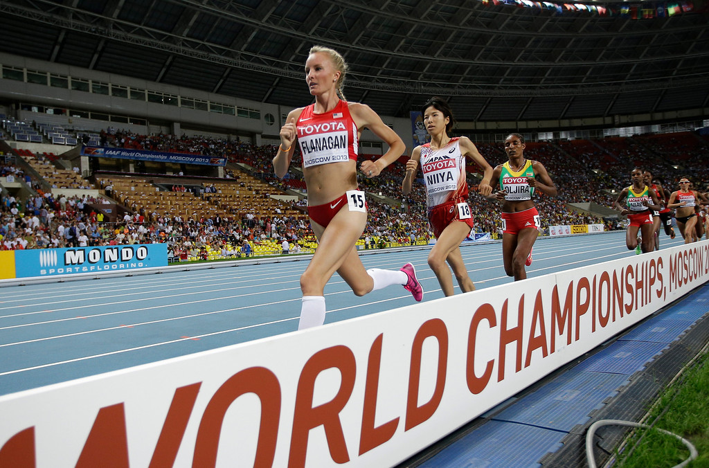 . United States\' Shalane Flanagan competes in the women\'s 10000-meter final at the World Athletics Championships in the Luzhniki stadium in Moscow, Russia, Sunday, Aug. 11, 2013. (AP Photo/David J. Phillip)