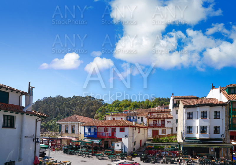 Tazones village facades of Asturias Spain