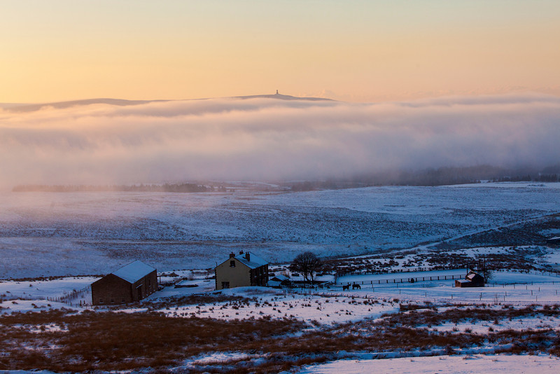 A winters view of Jubilee Tower Darwen in the distance.