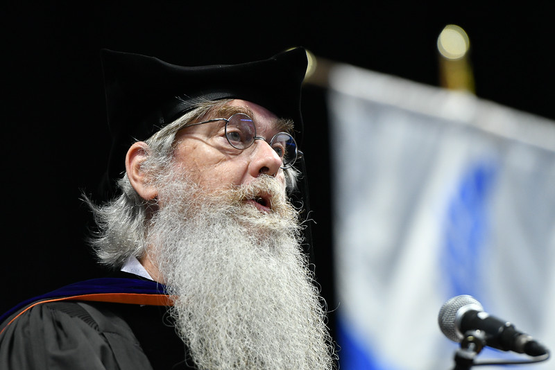 Dr. Blair Sterba-Boatwright, Professor of Mathematics and Statistics in the College of Science and Engineering, addresses summer 2021 graduates during the commencement ceremony at the American Bank Center.