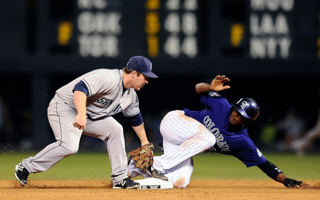 . Colorado Rockies Dexter Fowler, right, slides safely into second base under the tag by San Diego Padres second baseman Jedd Gyorko in the 4th inning of a baseball game on Monday, Aug. 12, 2013 in Denver. (AP Photo/Chris Schneider)