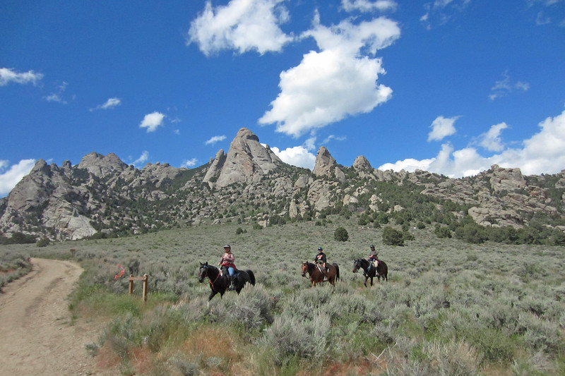 Trail riders at City of Rocks National Reserve in Idaho