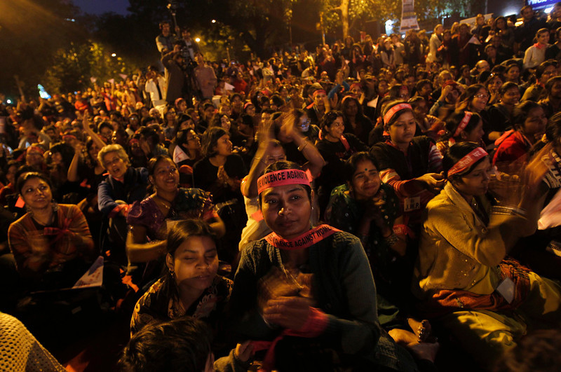 ". People participate in a rally for the ""One Billion Rising\"" campaign in New Delhi February 14, 2013. One Billion Rising is a global coordinated campaign aimed to call for an end to violence against women and girls, according to its organisers.  REUTERS/Mansi Thapliyal"