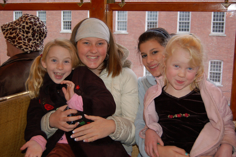 On the trolley... Cassidy, Grace, Megan, Carter