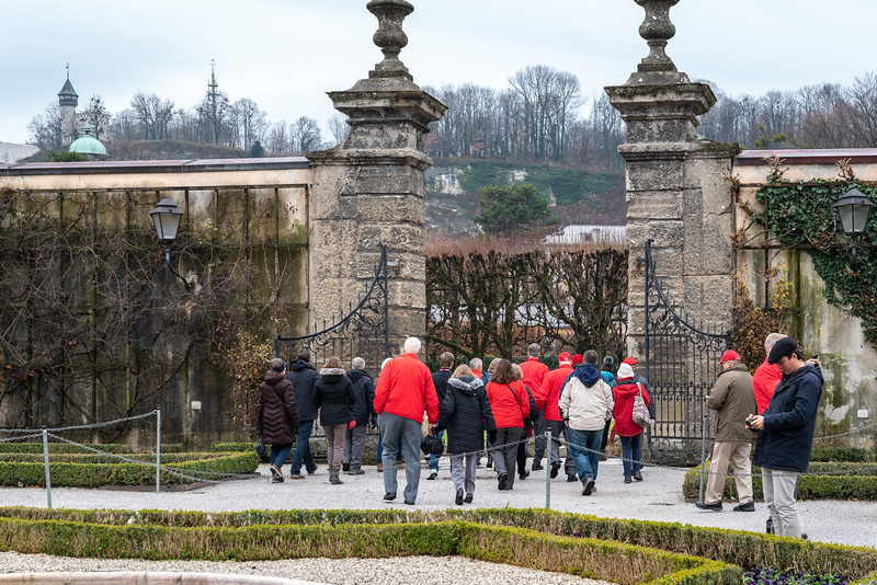 Entering the Mirabell Palace formal gardens