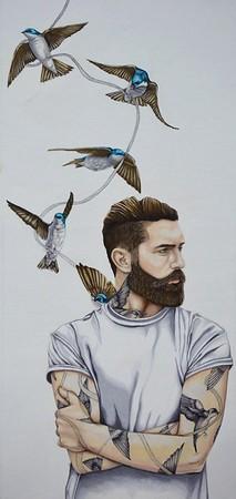 """Flight"" (colored pencil) by Kelly Ferguson"