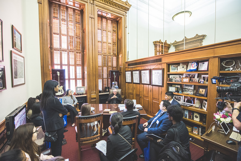 TAMU-CC students meet with Todd Hunter in his office during their visit to the State Capitol.