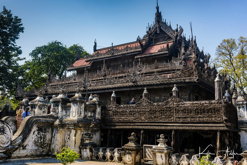 The lovely Shwenandaw Kyaung is an ornately carved wooden monastery built in classic Burmese style.