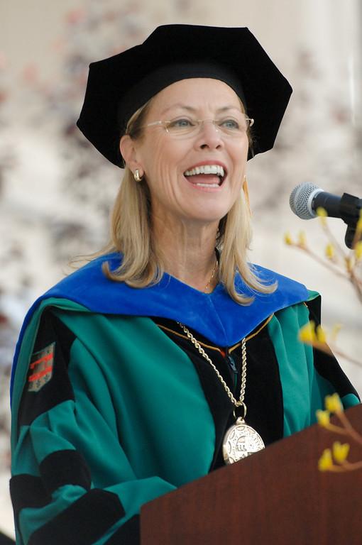 . CSUN President Dianne F. Harrison addresses graduates at the CSUN commencement ceremonies, Tuesday, May 21, 2013. (Michael Owen Baker/L.A. Daily News)