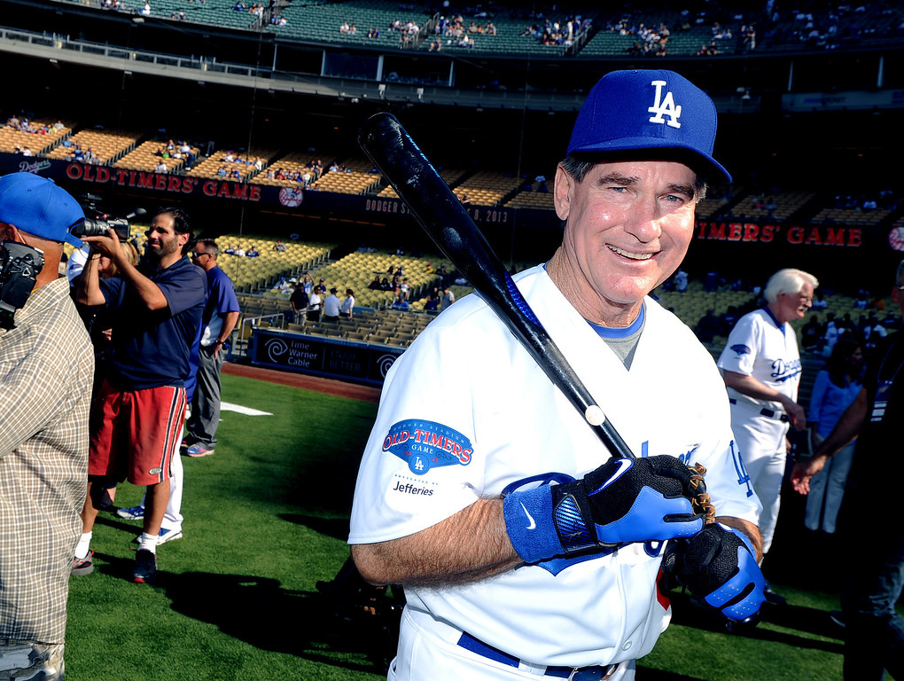 . Former Los Angeles Dodgers first baseman Steve Garvey during the Old-Timers game prior to a baseball game between the Atlanta Braves and the Los Angeles Dodgers on Saturday, June 8, 2013 in Los Angeles. 