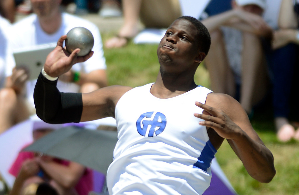 . Maribeth Joeright/MJoeright@News-Herald.com <p> Gilmour\'s A.J. Wright takes third place in the Division III boys shot put in state championship meet in Columbus, June 6, 2014.