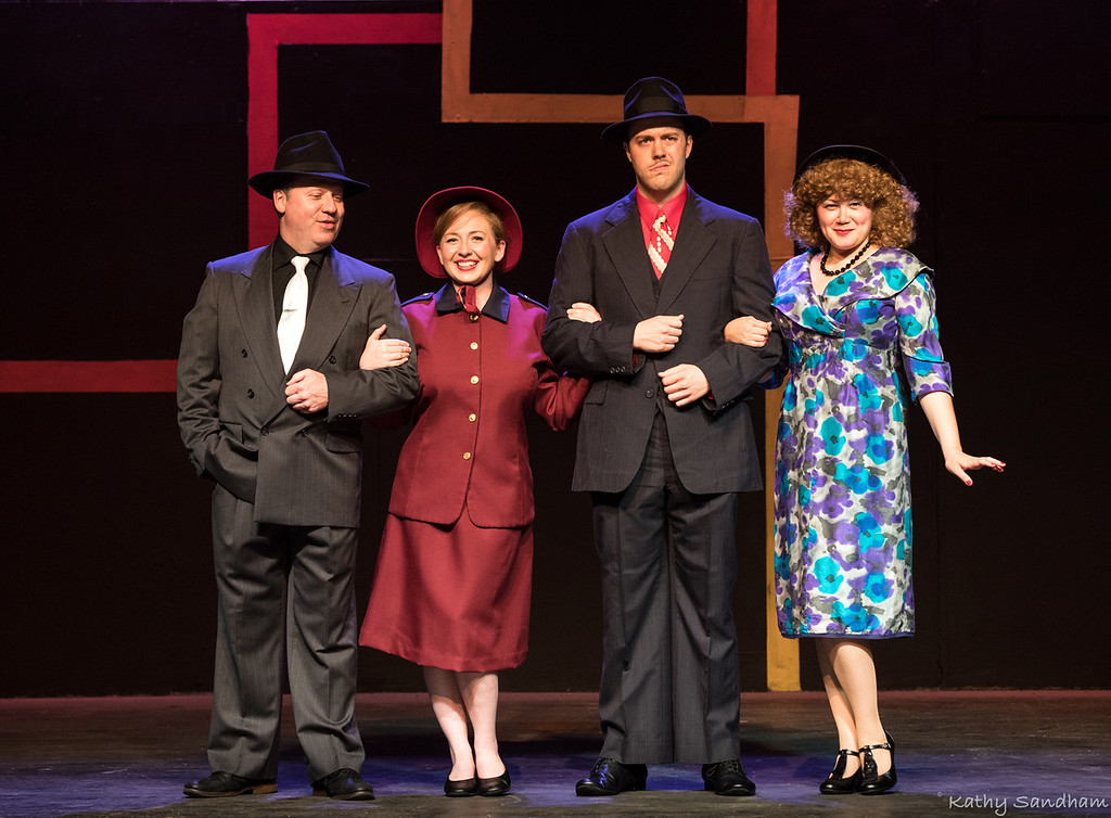 . �Guys and Dolls� kicks up the season at Rabbit Run Theater in Madison Township on June 2. In the cast are Scott Posey, left, as Sky Masterson, Alice Nelson as Sarah Brown, J J Luster as Nathan Detroit and Evie Koh as Adelaide. The show runs through June 24. For information or tickets, call 440-428-7092 or visit www.rabbitrunonline.org. (Kathy Sandham)
