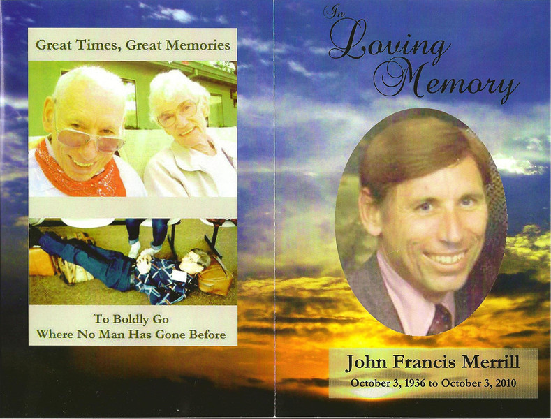 Memorial book for mom's 1st cousin (though more like a brother) John Merrill
