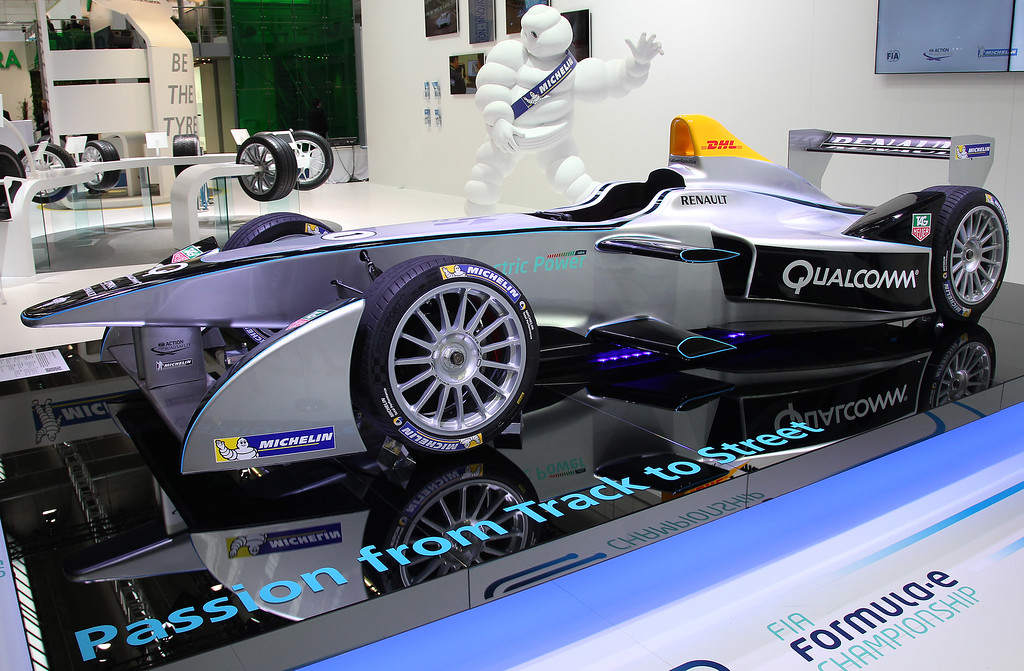 . A Renault Spark SRT-01E FIA Formula E race car is presented during the media day of the IAA (Internationale Automobil Ausstellung) international motor show in Frankfurt am Main, western Germany, on September 10, 2013.    AFP PHOTO / DANIEL ROLAND/AFP/Getty Images