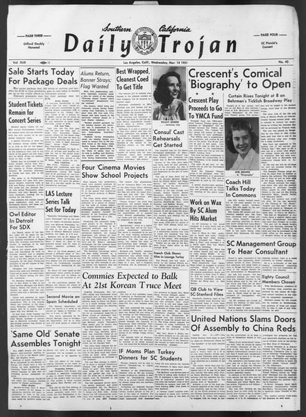 Daily Trojan, Vol. 43, No. 42, November 14, 1951