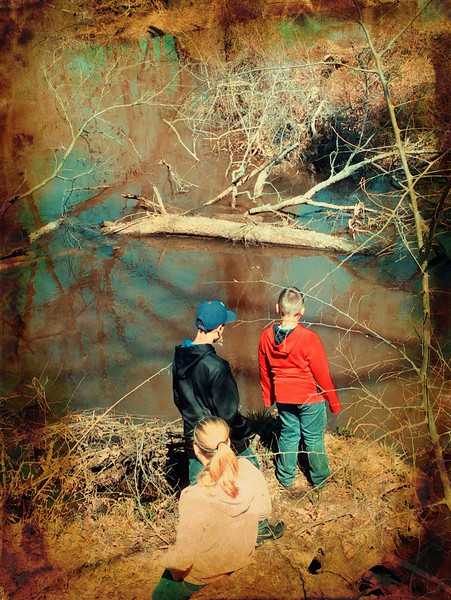 Kathryn, Landry and Jonah exploring the Neches River in Chandler, TX.