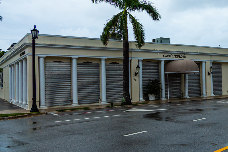 Cafe L'Europe is shuttered on South County Road in Palm Beach  ahead of Hurricane Dorian side-swiping Florida's east coast on Labor Day, Monday, September 2, 2019. [JOSEPH FORZANO/palmbeachpost.com]