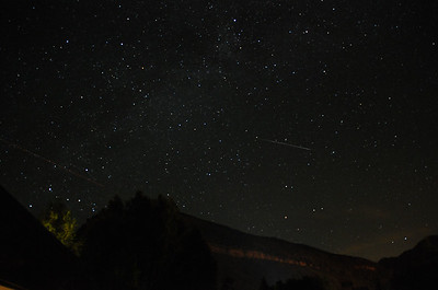 Meteor (white streak) and plane (red streak) near Vail, CO. 20130702