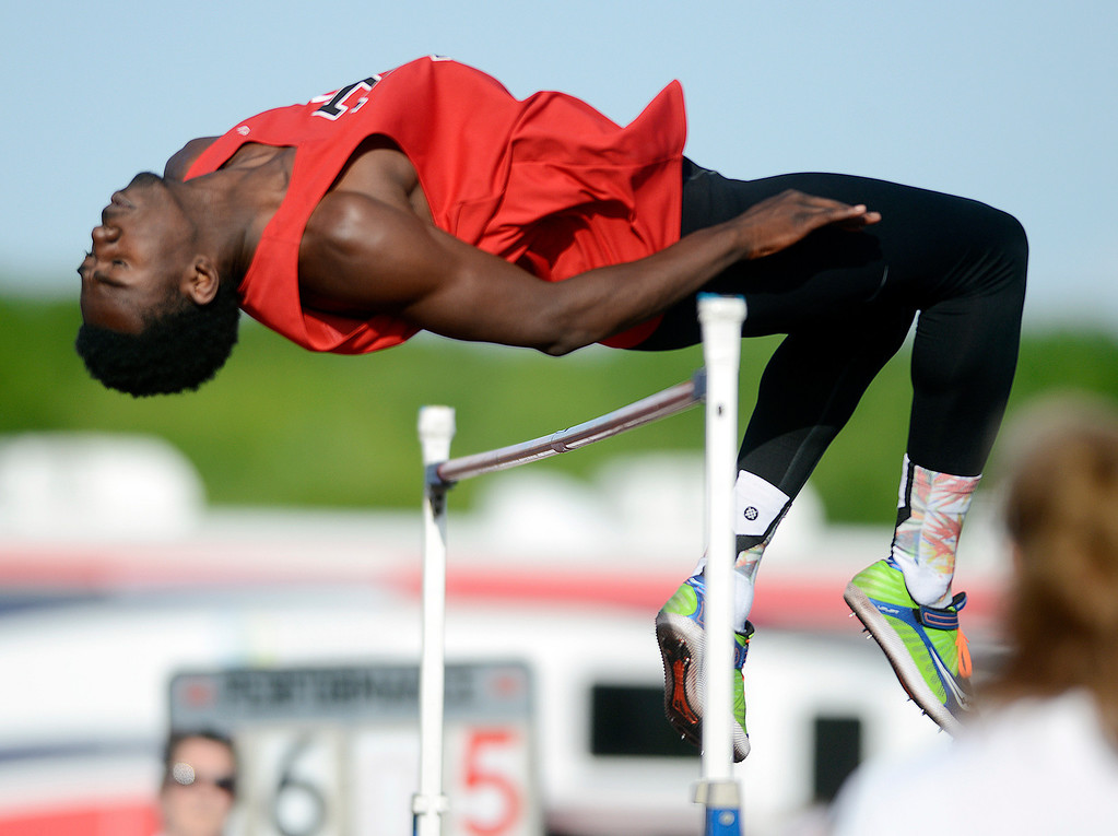 ". Maribeth Joeright/MJoeright@News-Herald.com<p> Harvey\'s Lavell Morgan qualifies for state with his jump of 6\'5"" during the boys high jump event during the Divison I regional final meet, May 30, 2014."