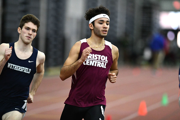 2/1/2020 Mike Orazzi | StaffrBristol Central's Joe Ramirez in the 600 meter run during the CCC Indoor Track & Field Championships at the Floyd Little Athletic Center in New Haven on Saturday.