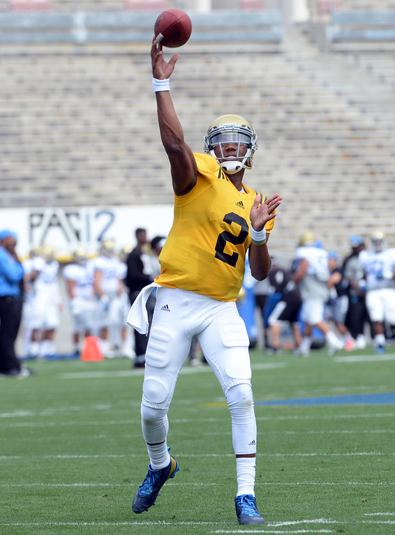 . UCLA Bruins quarterback Asiantii Woulard during a NCAA college spring football game at the Rose Bowl in Pasadena, Calif., Saturday, April 25, 2015.
