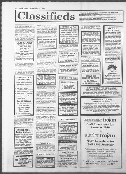 Daily Trojan, Vol. 108, No. 63, April 21, 1989