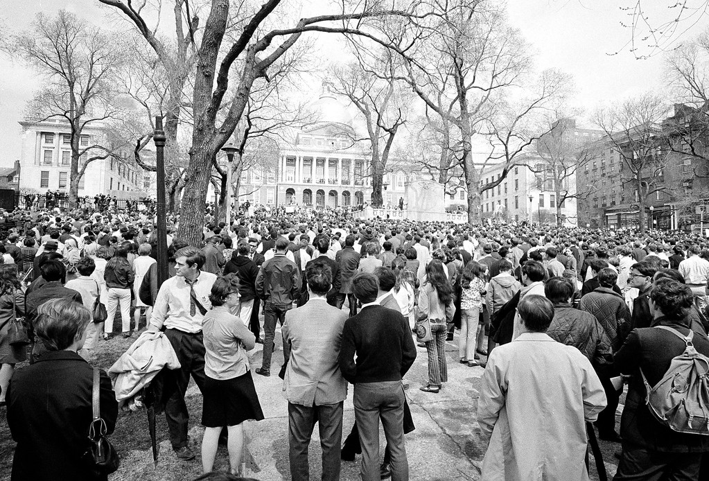 . An estimated 5,000 college students, predominantly white, gather on Boston Common in front of the State House, April 5, 1968, in memory of slain civil rights leader Dr. Martin Luther King, Jr., who was slain in Memphis.  (AP Photo)
